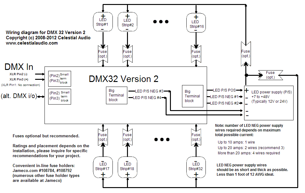 dmx32_V2_diagram 32 channel dmx led dimmer (version 2) 5 pin dmx wiring diagram at couponss.co